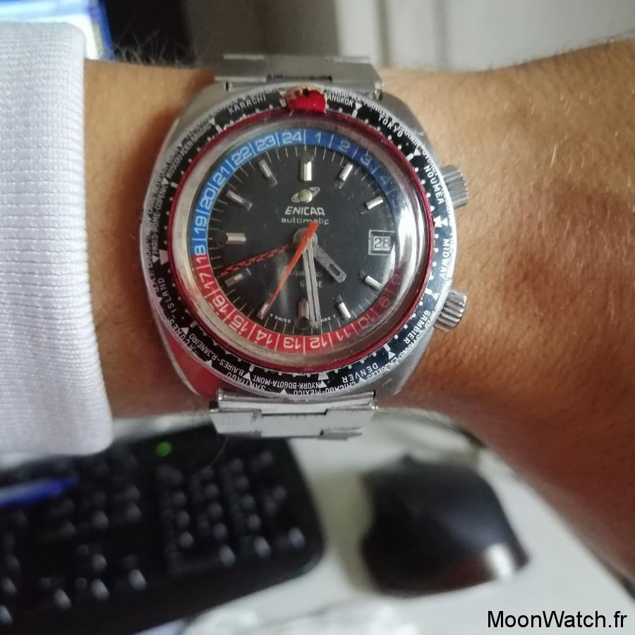 wristwatch enicar sherpa gmt